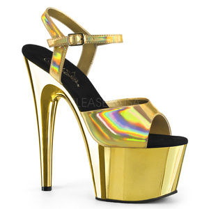 Shoes - Hologram High Heel Platform Stiletto Shoes Gold